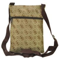 Dark Coffee Zip Leisure Bags with Letter G